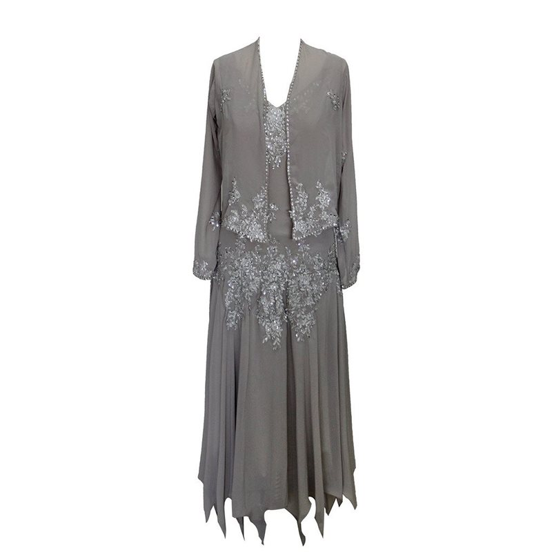 Фото #1: Appliques Tea-Length Plus Size Mother of the Bride Dress with Jacket