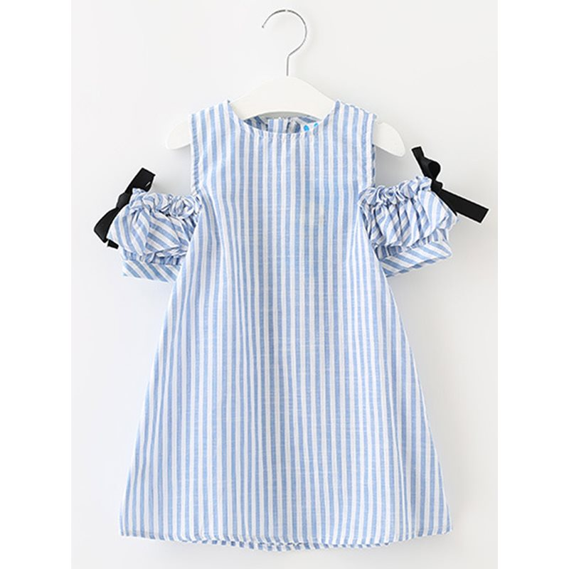 Ethnic Stripe Bowknot Strapless Pleated Girls Dress
