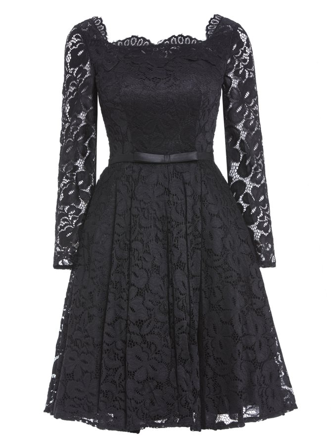 Bowknot Square Neck Sashes Long Sleeves Lace Cocktail Dress