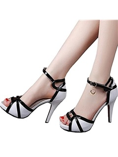 PU Color Block Heel Covering Women's Sandals 21