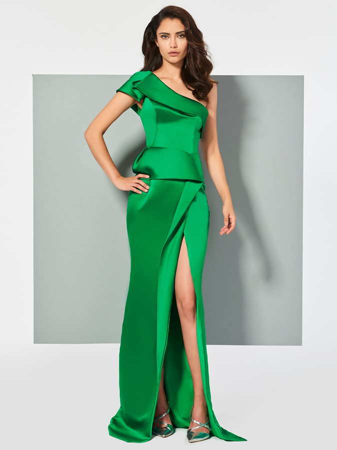 One-Shoulder Sheath Split-Front Pleats Evening Dress