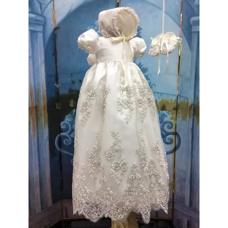 Appliques Baby Girls Christening Dress with Sleeves фото