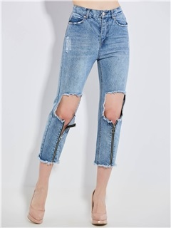 Slim Hole Zipper Patchwork Women's Jeans