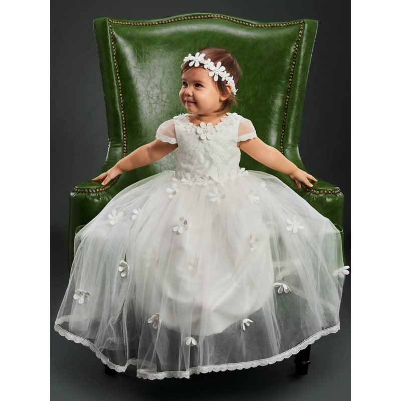 Lace Edge Cap Sleeves Flowers Baby Girls Christening Gown фото