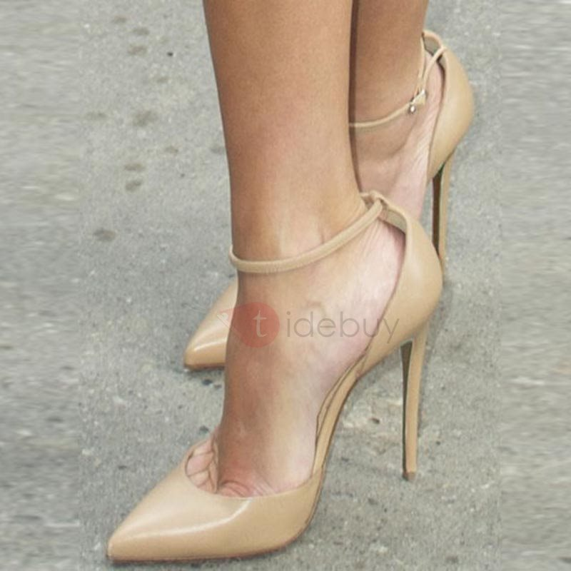 Image of Line-Style Buckle Pointed Toe Pumps