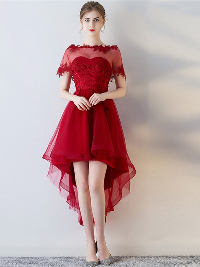 Unique A-Line Short Sleeves Appliques Sweetheart Asymmetry Homecoming Dress