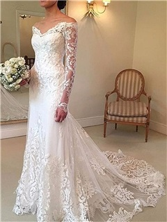 Mermaid Lace Wedding Dress with Long Sleeve 31