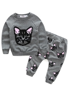 Sweet Cat Printed Long-Sleeve Tops And Pants Girl's Outfit 10