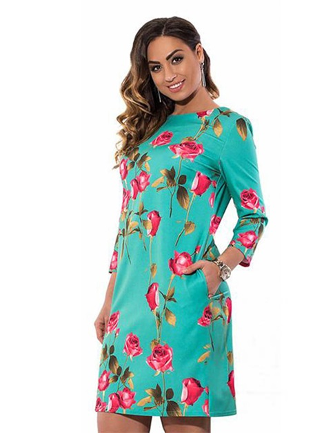 Long Sleeve Floral Printed Plus Size Bodycon Dress