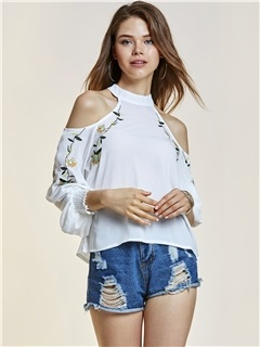 Cold Shoulder Embroidery Blouse 15