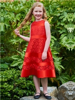 Stunning A-Line Straps Red Lace Girl Party Dress