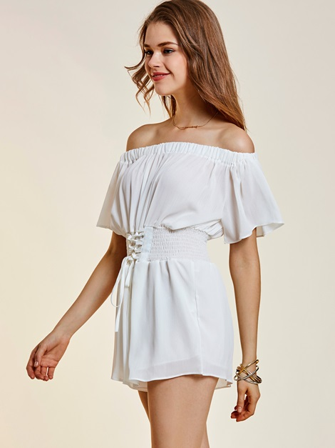 Backless Wide Legs Lace-Up Off Shoulder Women's Romper