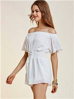 Backless Wide Legs Lace-Up Off Shoulder Women's Romper 1