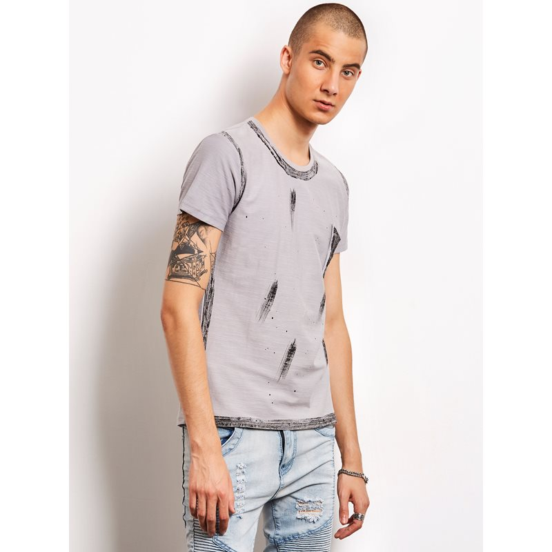 Printed Round Neck Mens Casual T-Shirt