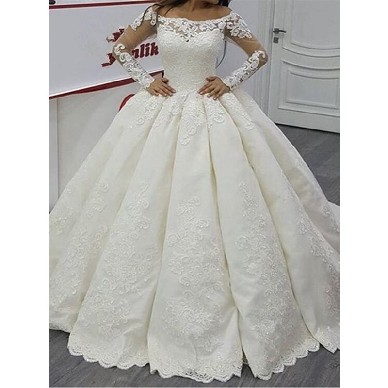 Vintage Off the Shoulder Long Sleeves Appliques Wedding Dress