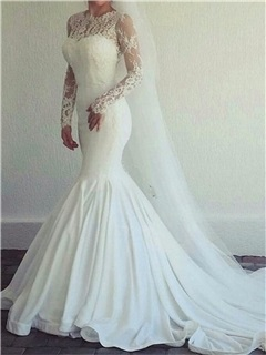 Long Sleeves Mermaid Lace Wedding Dress 5