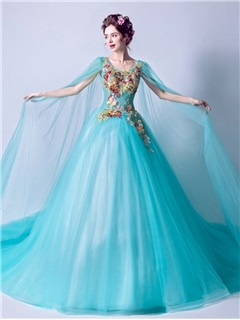 Chic Scoop Ball Gown Beaded Embroidery Watteau Train Quinceanera Dress