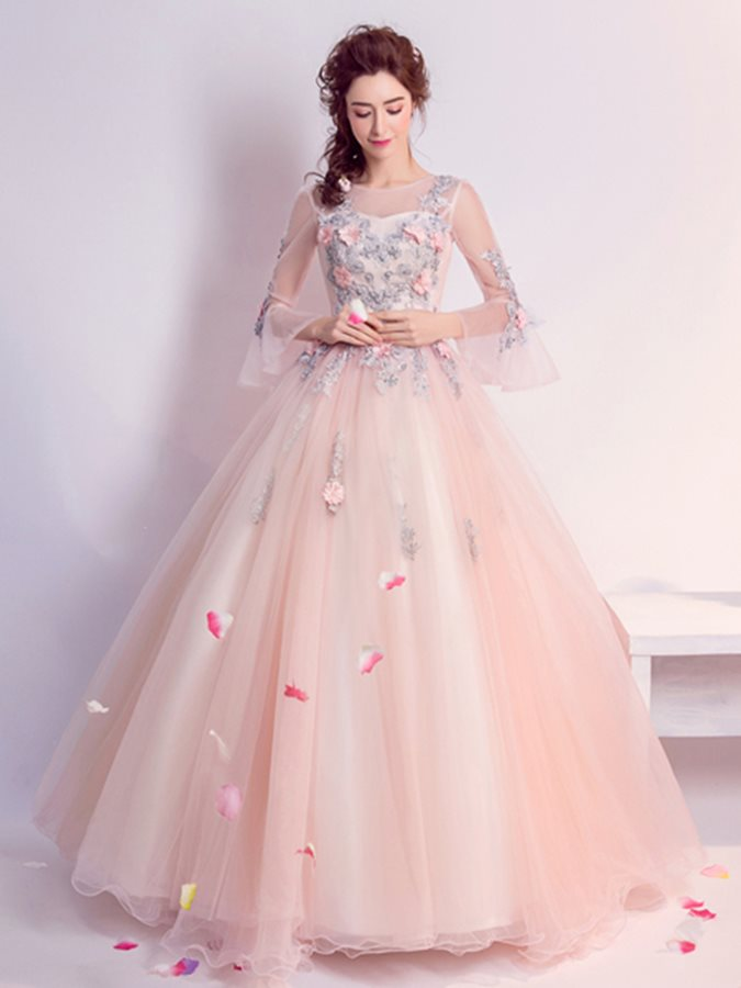 ebb2821f268d 20% OFFStylish Ball Gown Appliques Flowers Pearls Scoop Floor-Length Quinceanera  Dress