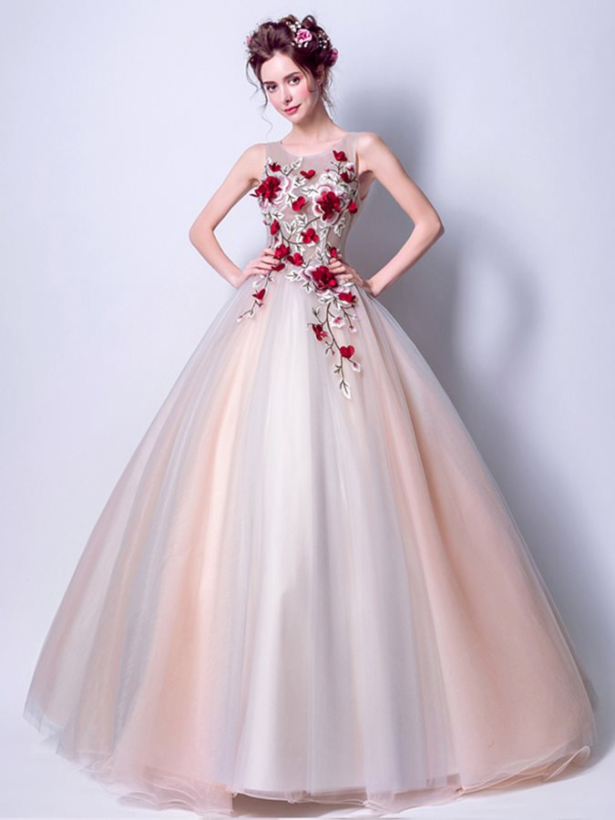 289fc7305d Nice Ball Gown Embroidery Floor-Length Quinceanera Dress   Tidebuy.com