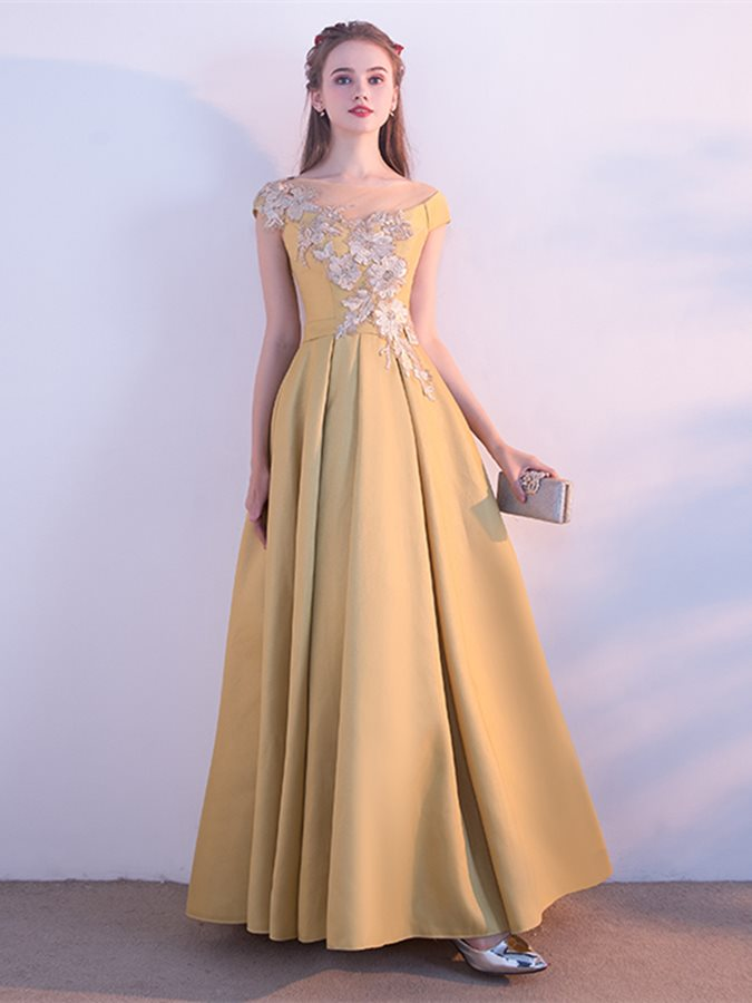 Beading Embroidery Flowers Bateau Evening Dress