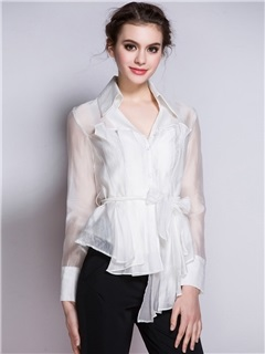 Tie Front Mesh See Through Women's Blouse 5