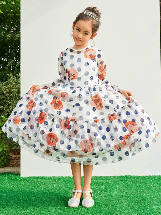Modern Round Neck Print Tulle Tea-Length Girls Party Dress