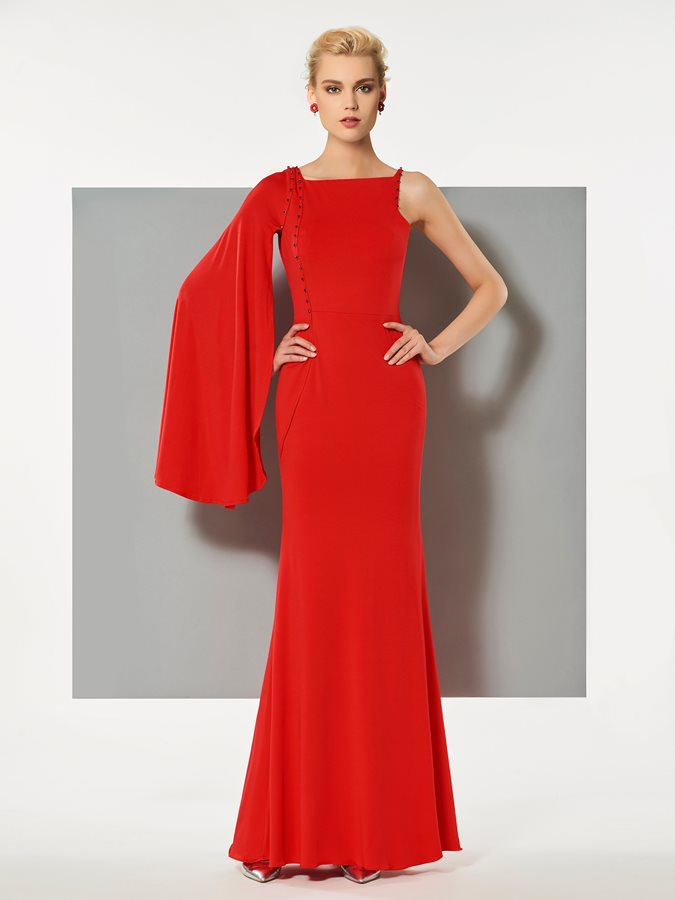 Sheath Bateau Beaded Long Sleeves Evening Dress