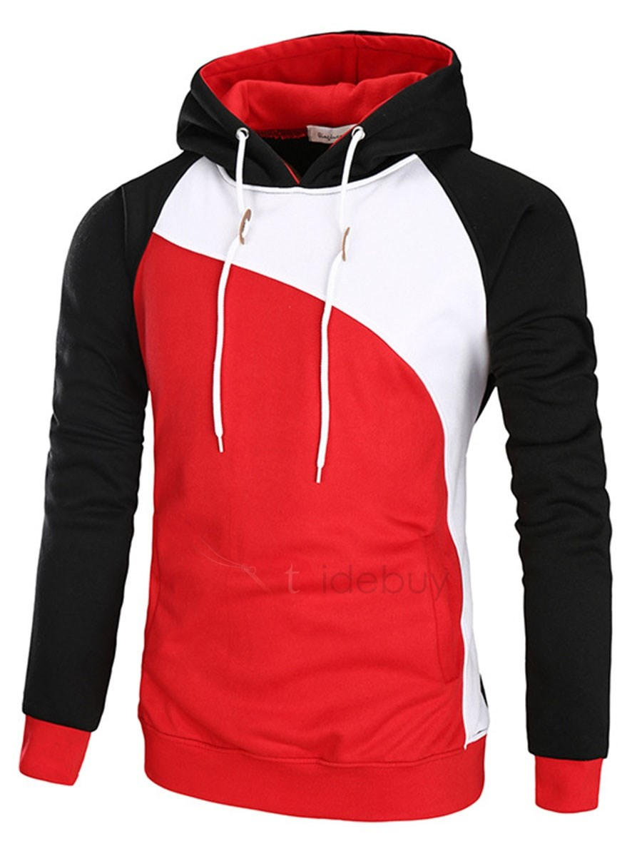 Image of Hooded Color Block Patchwork Lace-Up Mens Hoodie