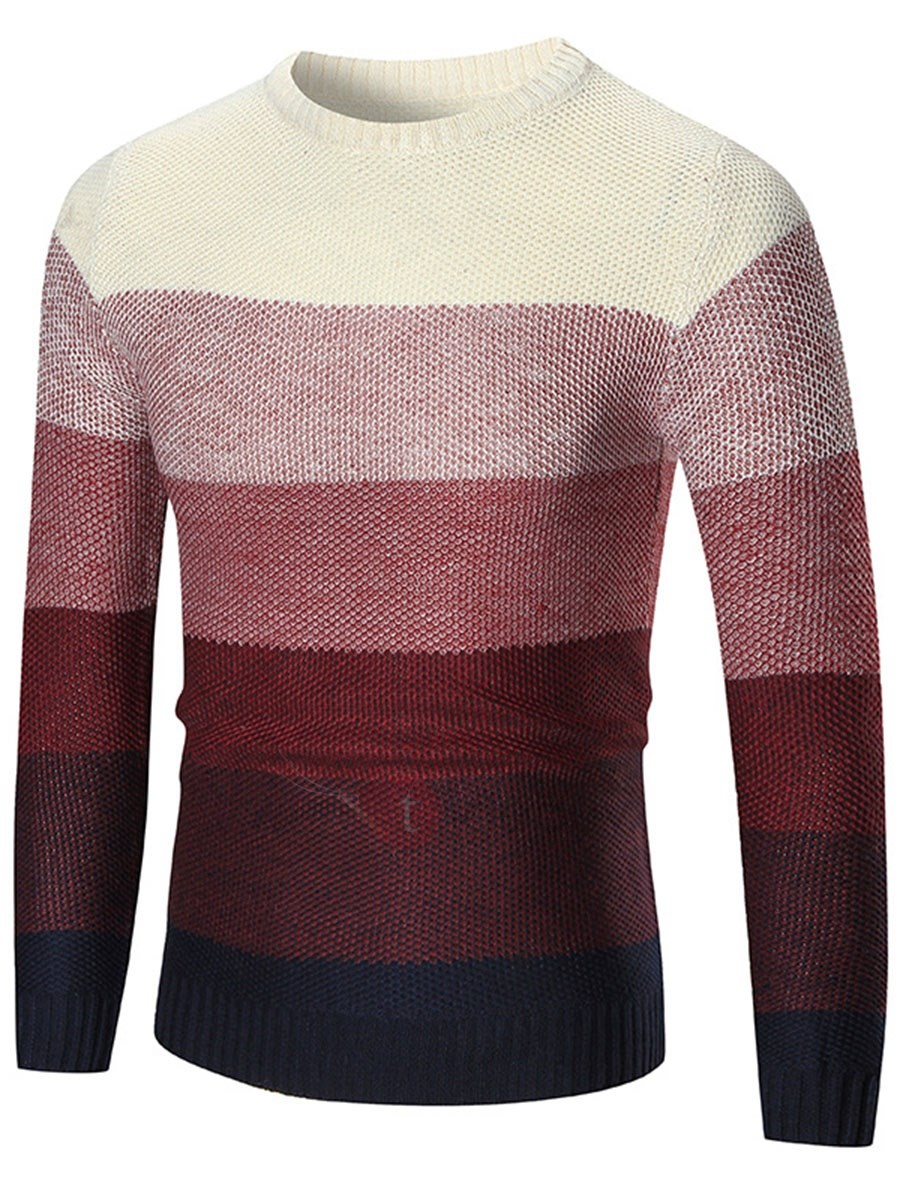 Image of Round Neck Color Block Pullover Mens Sweater