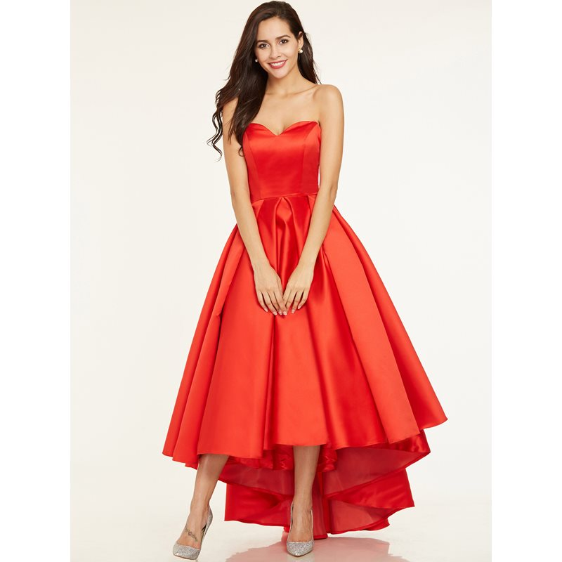 A-Line Sweetheart Pleats Asymmetry Prom Dress
