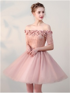 Charming A-Line Flowers Lace Pearls Off-the-Shoulder Half Sleeves Short Homecoming Dress 1