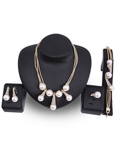 Pearls Diamante Alloy Multilayer Chains Double Clasps Creative Jewelry Sets