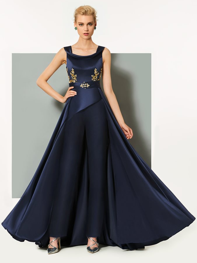 A-Line Straps Beading Bateau Evening Dress