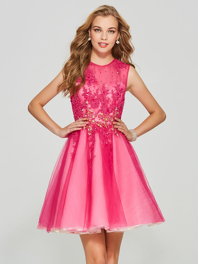 Pretty Jewel A-Line Button Appliques Mini Homecoming Dress