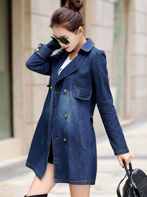 Notched Lapel Denim Mid-Length Women's Trench Coat