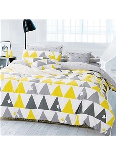Wannaus Full Size Concise Triangle Print Cotton 4-Piece Duvet Cover Sets 2