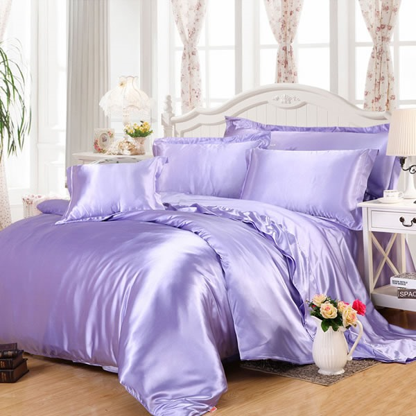 Wannaus Luxury Solid Lilac 4-Piece Silky Duvet Cover Sets