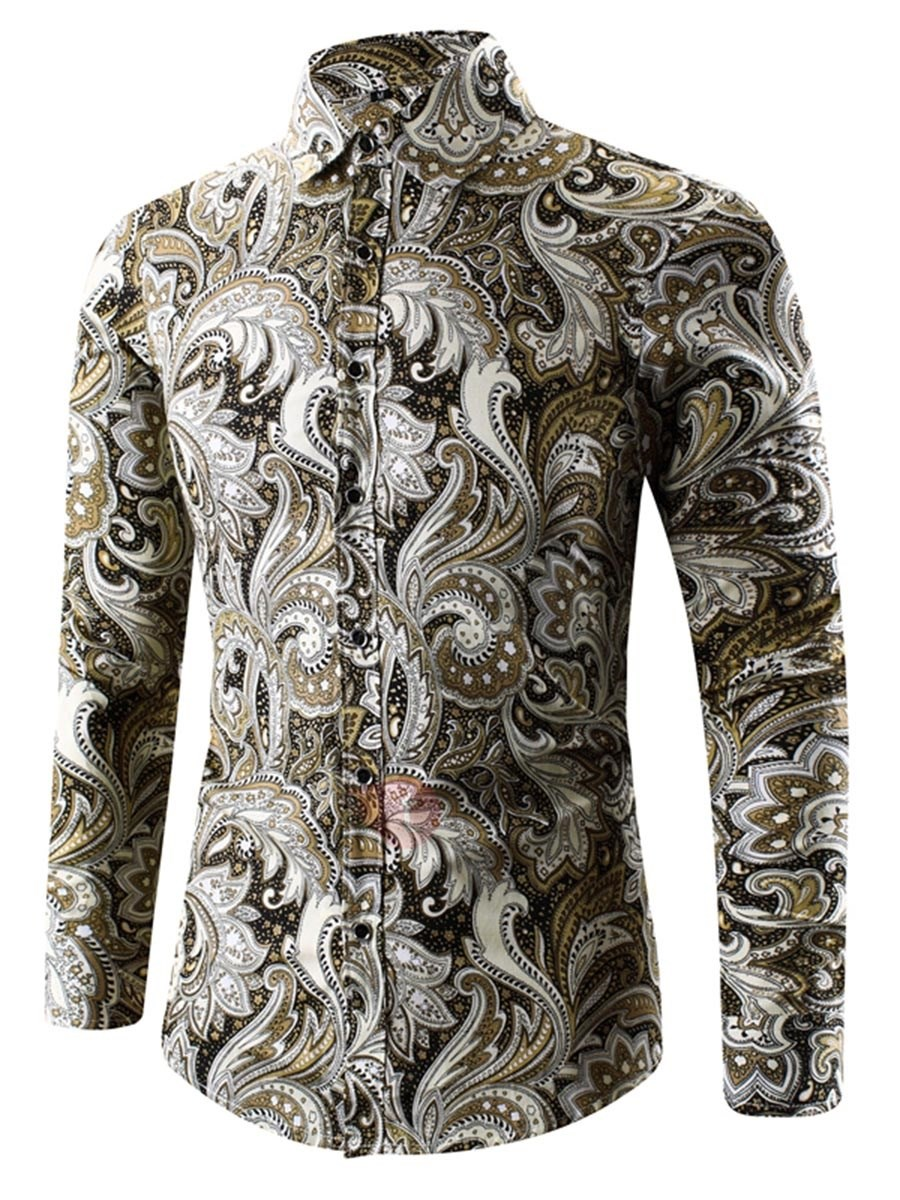 New Floral Printing Slim Turndown Neck Men's Shirts