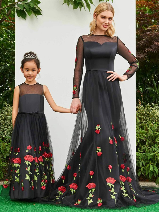 Parent-Child Illusion Neck Floral Embroidery Girls Party Dress