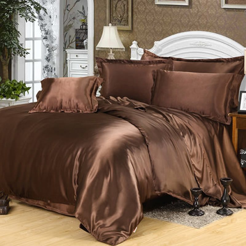 Wannaus Dark Coffee Pure Color Luxury Silky 4-Piece Duvet Cover Sets