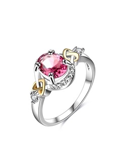 Red Oval Cut Zircon Stone Alloy Lover Rings 1