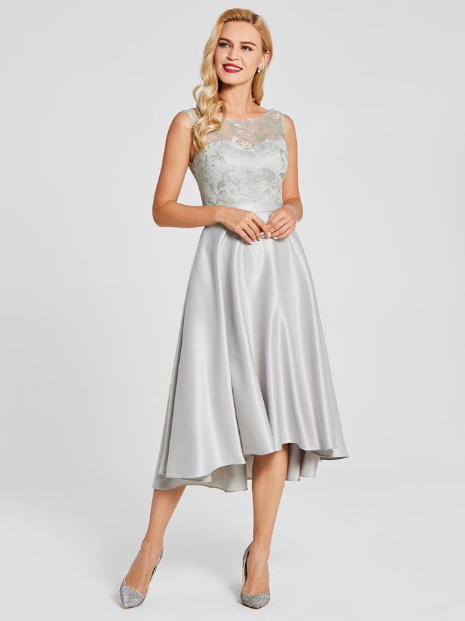 Modern Straps Lace Top High Low Bridesmaid Dress