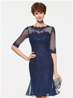 Half Sleeves Appliques Sheath Mother of the Bride Dress