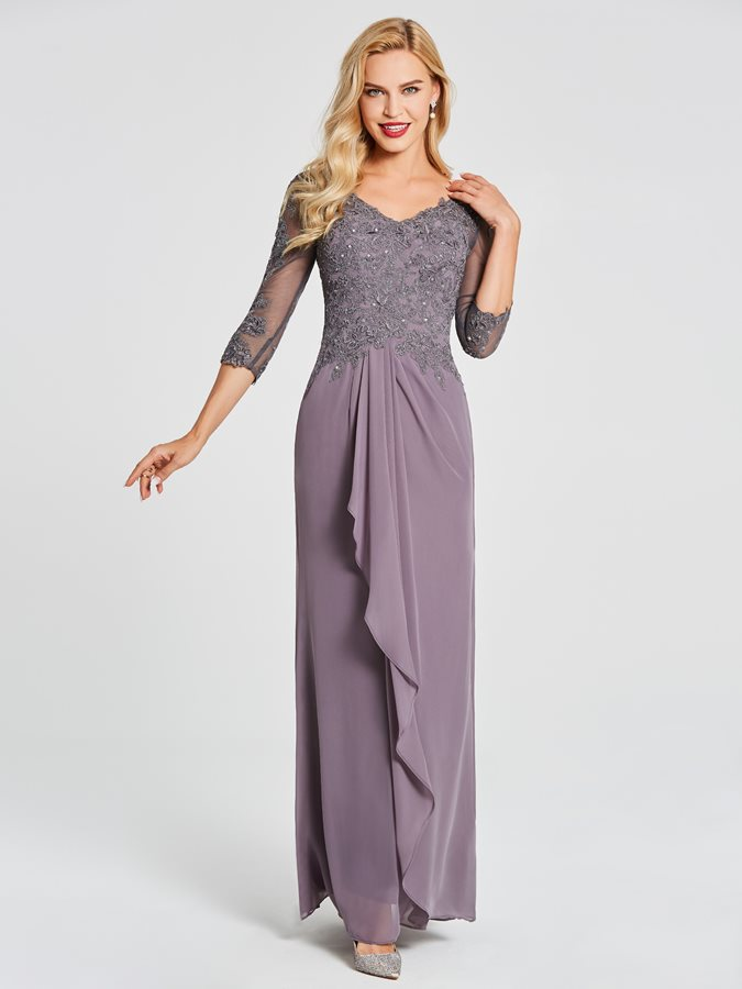 Sleeves Appliques Sequins Mother of the Bride Dress