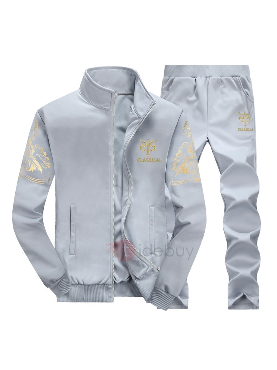 Image of Floral Printing Slim Sports Stand Collar Mens Sport Suit