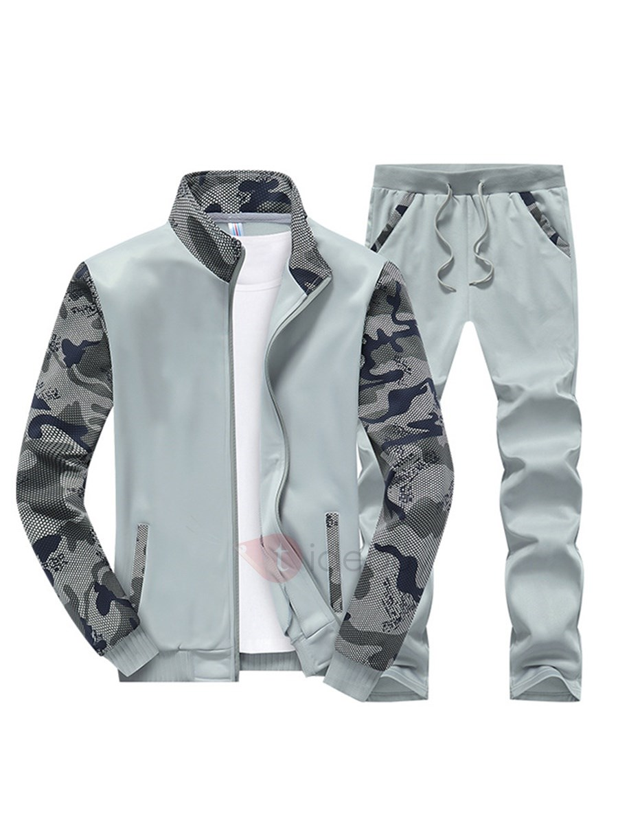 Image of Camouflage Sleeve Stand Collar Zipper Mens Outfits