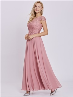 Charming Scoop Neck Lace Appliques A Line Prom Dress 1