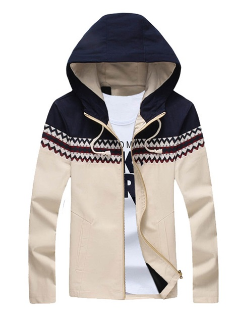 Mosaic Color Slim Zipper Long Sleeve Men's Jacket