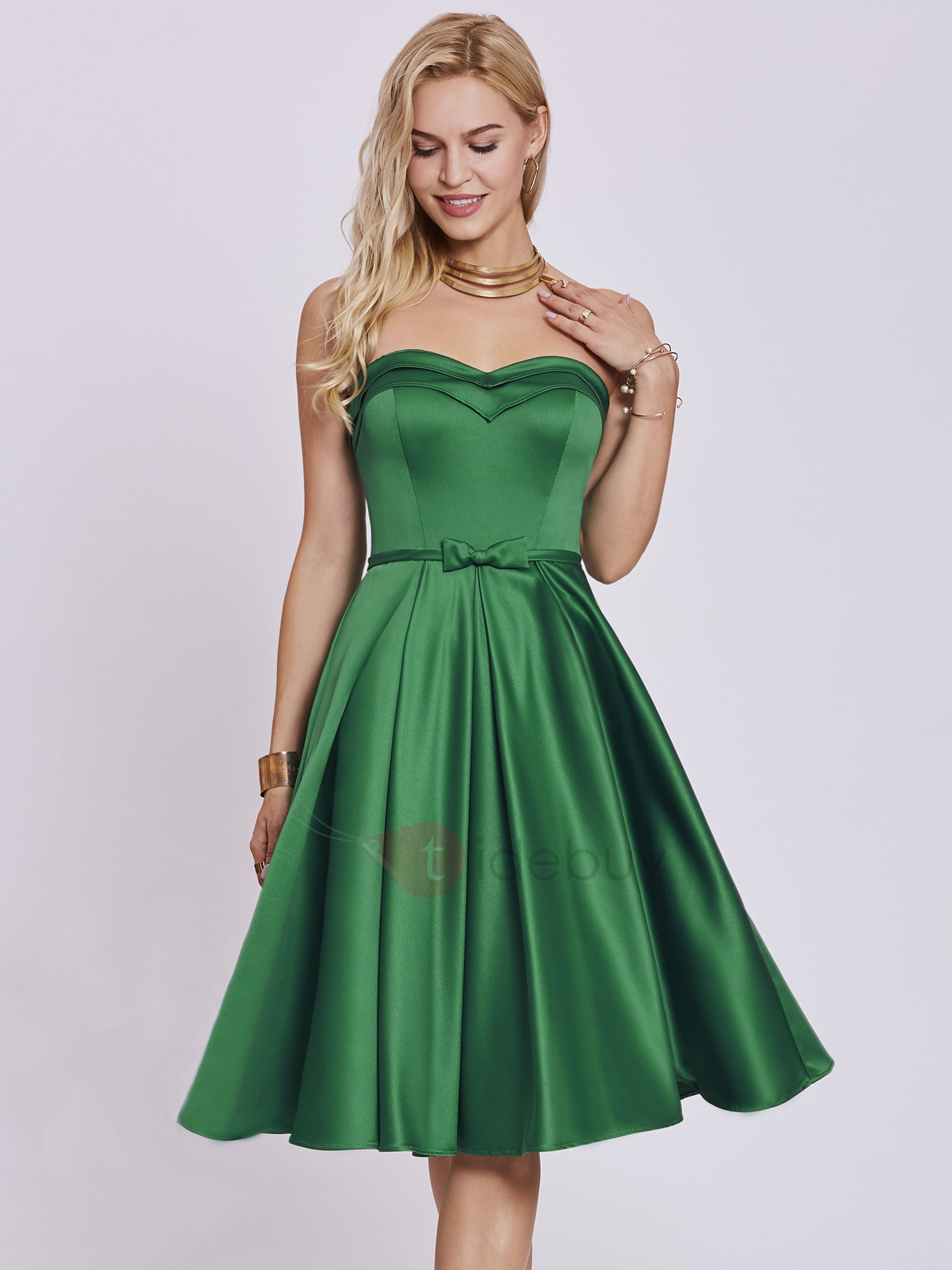 Image of Sweetheart Bowknot A Line Homecoming Dress