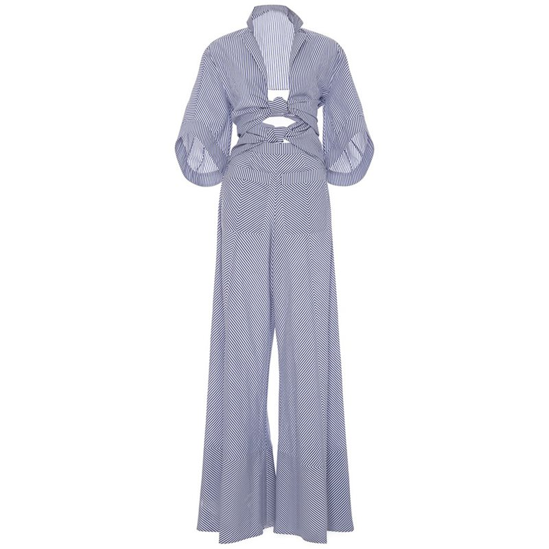 Bellbottoms Lace up Backless Stripe Jumpsuit